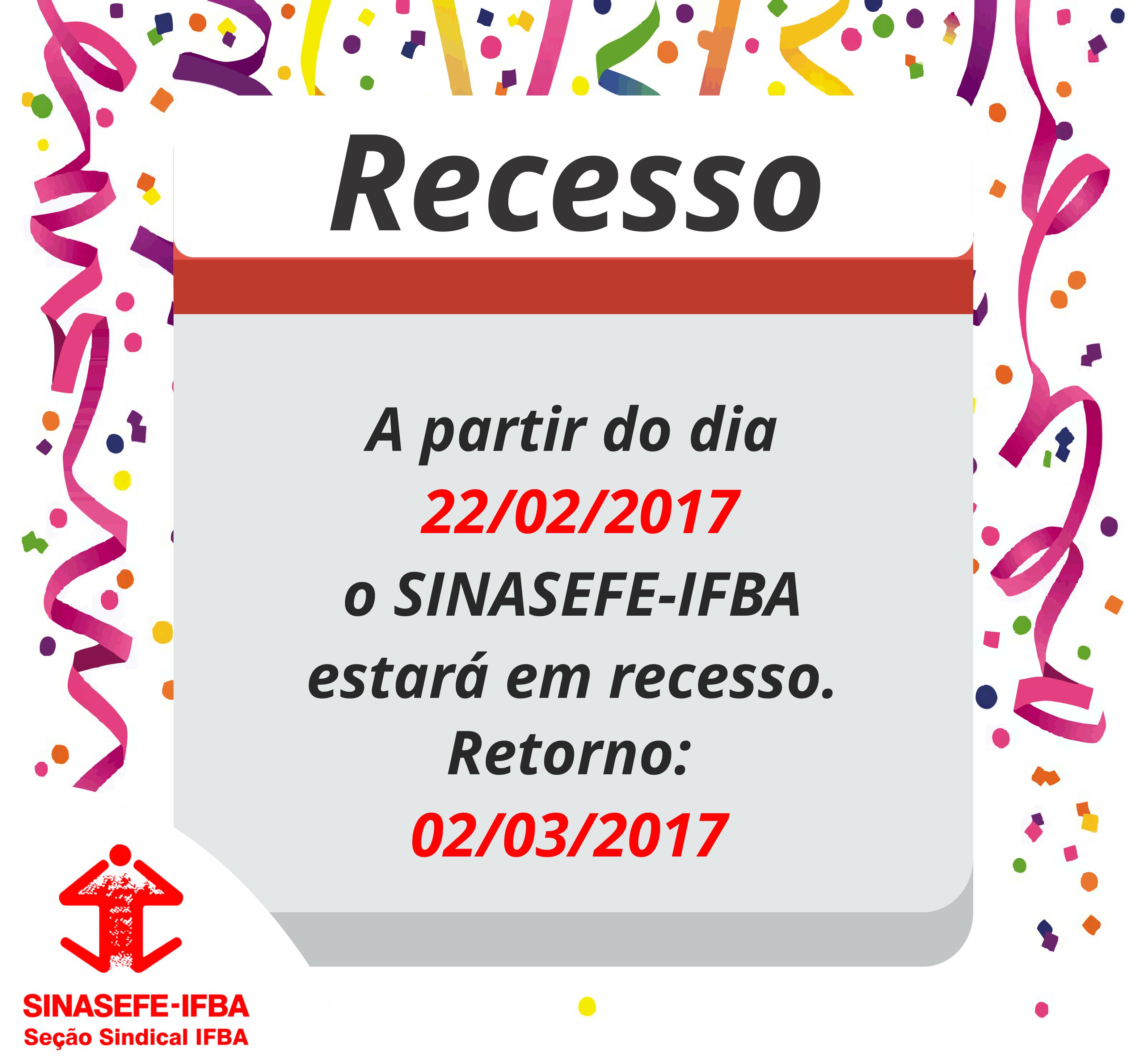 recesso carnaval 2017